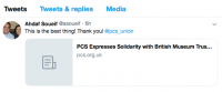 Ahdaf Soueif's tweet to the PCS union, 19.7.19